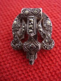 1930s Art Deco Dress Clip - Silver set with Marcasite